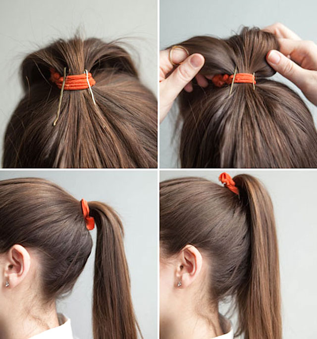 high ponytail bobby pin trick