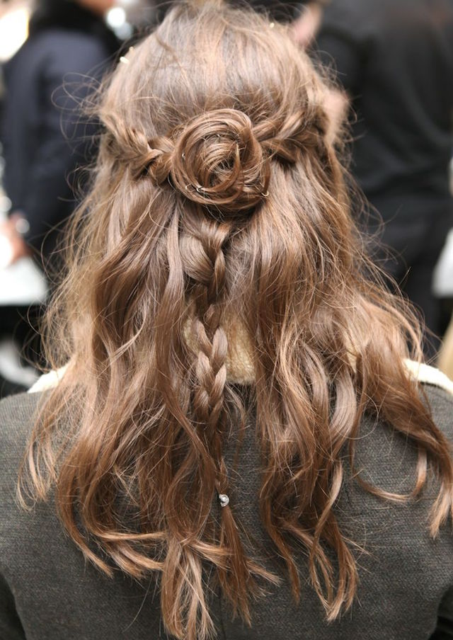 braid bun brunette