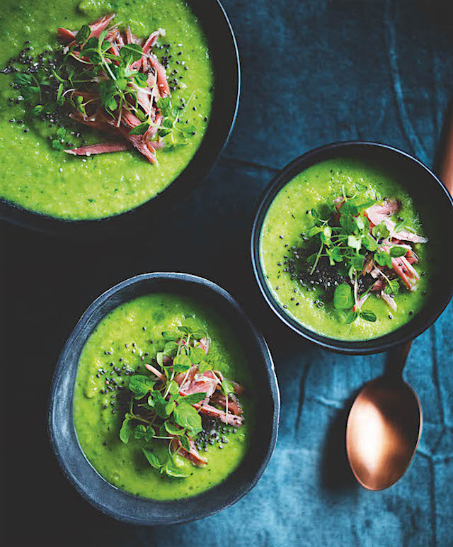 Celeriac, watercress, pea and ham hock soup_DH Winter 16