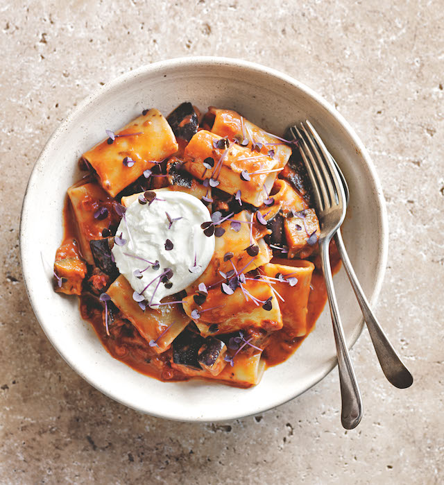 Creamy tomato, burrata and eggplant pasta