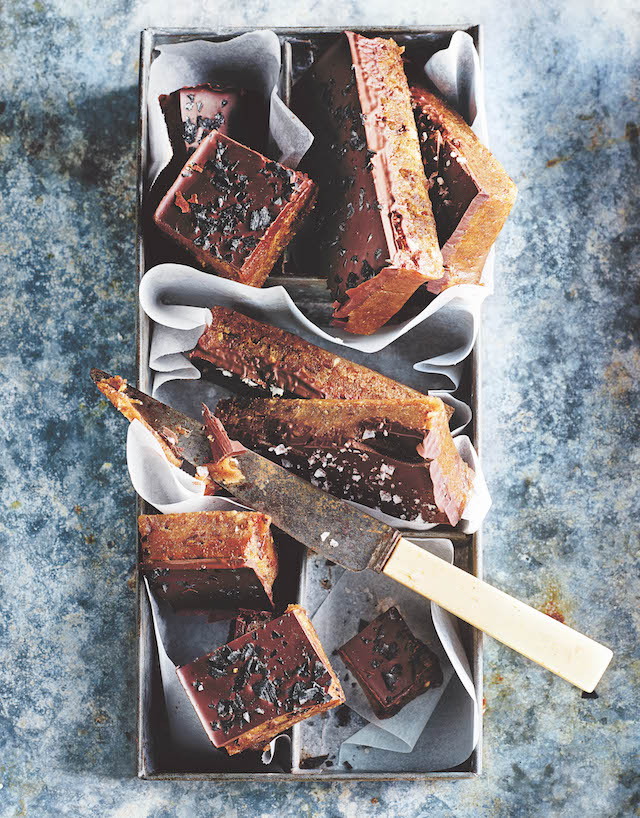 Chocolate and peanut butter date fudge