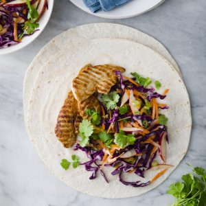 back-to-work, super-quick recipe #1: SPICY CHICKEN 'N SLAW WRAP
