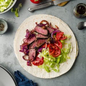 back-to-work, super-quick recipe #2: STEAK 'N ONIONS WRAP