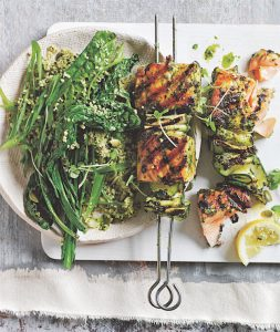 recipe: DONNA HAY'S PESTO SALMON SKEWERS WITH GREEN COUSCOUS SALAD
